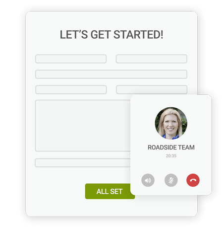 Image of a list and headshot of Angela showing how Roadside will Collaborate and Strategize